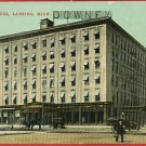 LANSING MICHIGAN DOWNEY HOUSE HOTEL CARS 1911 POSTCARD
