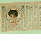 H WESSLER WOMAN BEST WISHES 1909 ARTIST SIGNED POSTCARD