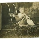 RPPC BABY IN BABY BUGGY REAL PHOTO POSTCARD