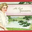 WOMAN W/ TENNIS RACKET ALL KIND THOUGHTS  POSTCARD