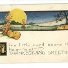 THANKSGIVING PUMPKINS MOON CORN STALKS  POSTCARD