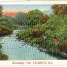 CALHOUN GA GEORGIA GREETINGS FROM 1937  POSTCARD