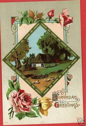 P SANDER  BIRTHDAY GREETINGS HOUSE BOAT  1911 POSTCARD