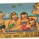 COMIC RISQUE MAN FOUR WOMEN SWIMSUITS BEACH   POSTCARD