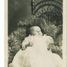 RPPC BABY ON FUR BLANKET WICKER CHAIR MILON HARRY KLOTZ