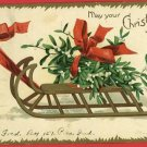 CHRISTMAS SLEIGH CLAPSADDLE ARTIST SIGNED 1907 POSTCARD