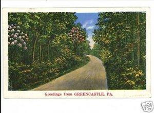 GREENCASTLE PENNSYLVANIA GREETINGS FROM 1935 POSTCARD