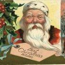 SANTA CLAUS CHRISTMAS 1909 POSTCARD CHURCH HOUSE TAG