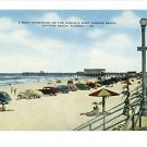 DAYTONA BEACH FLORIDA  BEACH  CARS LINEN POSTCARD