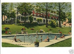 DELAWARE WATER GAP PENNSYLVANIA GLENWOOD HOTEL POOL '47