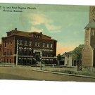 NEWTON Kansas  KS YMCA 1ST BAPTIST CHURCH  POSTCARD