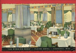 CHEYENNE WY PLAINS HOTEL WYOMING ROOM  POSTCARD
