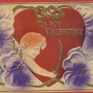 VALENTINE'S DAY CUPID SWORD HEART 1910  POSTCARD