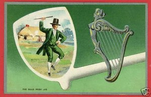 ST PATRICK'S DAY IRISH JIG PIPE HARP 1911 POSTCARD