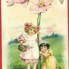 EARLY TUCK UNDIVIDED BACK RST GIRLS FLOWERS   POSTCARD