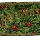 CHRISTMAS GREETINGS HOLLY & GOLD POSTCARD