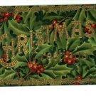 CHRISTMAS GREETINGS HOLLY & GOLD POSTCARD