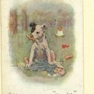 DOG HURTS DOLL BABY CRYING GROSS ARTIST SIGNED POSTCARD