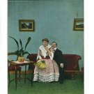 BAMFORTH LARGE WOMAN FAN MAN ON COUCH COMIC  POSTCARD
