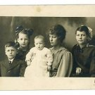 RPPC WOMEN WITH FOUR CHILDREN REAL PHOTO POSTCARD