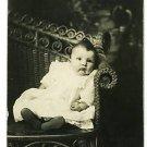 RPPC BABY IN WICKER LOVE SEAT BOOTIES   ADORABLE !