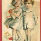 VALENTINE BOY AND GIRL LOVE HEARTS WOLF 1922  POSTCARD