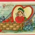 VALENTINE BASKET HEARTS GIRL  INTL ART POSTCARD