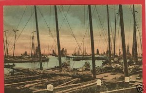 VOLENDAM HAVENGEZICHT HOLLAND POSTCARD SAILBOATS SHIPS