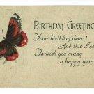 BIRTHDAY RED BLACK BUTTERFLY S BERGMAN  POSTCARD