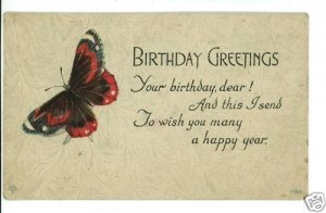 BIRTHDAY RED BLACK BUTTERFLY S BERGMAN  POSTCARD