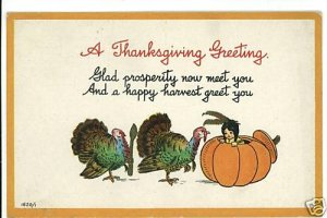 THANKSGIVING INDIAN CHILD PUMPKIN BERGMAN POSTCARD 1913