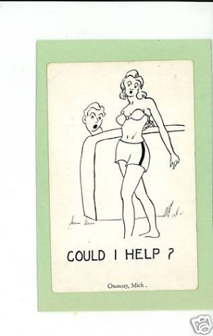 ONAWAY MICHIGAN RISQUE WOMAN COMIC POSTCARD   HERBERT