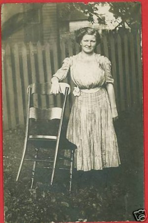 RPPC WOMAN DRESS LADDER BACK CHAIR LILY CHAPEL OHIO RP