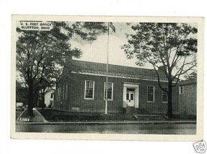 BLUFFTON OHIO OH POST OFFICE OLD CAR  POSTCARD