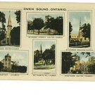 OWEN SOUND ONTARIO CANADA VIEWS 1948 POSTCARD