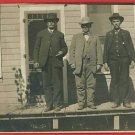 RPPC THREE MEN ON WOOD PORCH SCREEN DOOR RP  POSTCARD