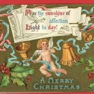 CHRISTMAS BELLS ANGEL HOLLY RIBBON 1910 POSTCARD