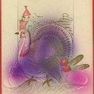 THANKSGIVING PURPLE TURKEY BARN EMBOSSED  POSTCARD