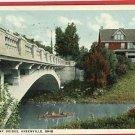 GREENVILLE OHIO BROADWAY BRIDGE CANOE POSTCARD 1923