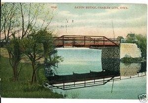 CHARLES CITY IOWA IA BAYON BRIDGE  POSTCARD