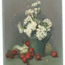 VASE JUG OF FLOWERS STRAWBERRIES ARTIST SIGNED POSTCARD