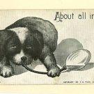 DOG PUPPY ARTIST SIGNED FLC 1909 MOSS POSTCARD