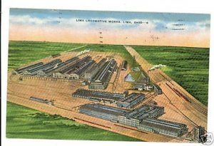 LIMA OHIO OH LOCOMOTIVE WORKS TRAIN  1956 POSTCARD