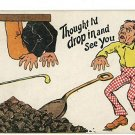 COAL SHUTE COMIC SHOVEL CANE 1905 BACKUS  POSTCARD