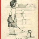 BOY DOG LEASH FENCE WONDER WHO SCHLESINGER '11 POSTCARD