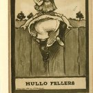 J D CARDINELL HULLO FELLERS GIRL FENCE 1909 POSTCARD