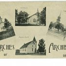 ARCHBOLD OHIO OH CHURCHES 1915 POSTCARD