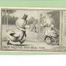 F BLUM ARTIST SIGNED MEAL TIME CHICKS 1910 POSTCARD