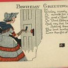 E WEAVER ARTIST SIGNED BIRTHDAY WOMAN DRESS   POSTCARD