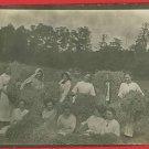 RPPC PEOPLE IN HAYSTACK STRAW FARM FARMING  RP POSTCARD